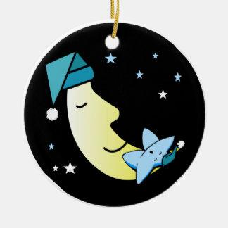 Sleepy Moon and Star Ceramic Ornament