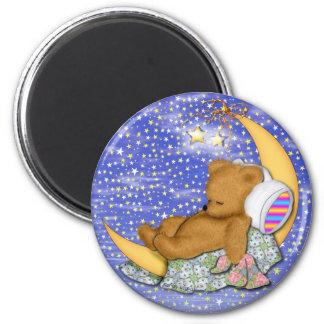 Sleepy Moon Bear 2 Inch Round Magnet