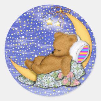 Sleepy Moon Bear Round Sticker