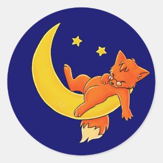 Sleepy Moon Fox Classic Round Sticker