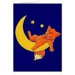 Sleepy Moon Fox Greeting Card