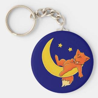 Sleepy Moon Fox Keychain