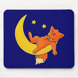 Sleepy Moon Fox Mouse Pad