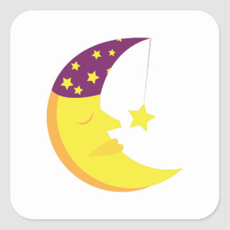 Sleepy Moon Square Stickers