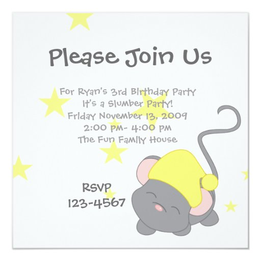 Sleepy Mouse 5.25x5.25 Square Paper Invitation Card