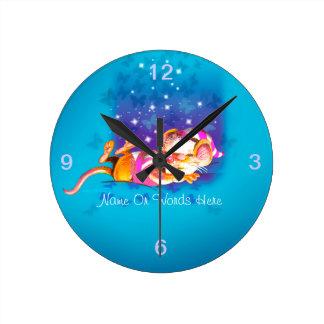 Sleepy Mouse Round Clocks