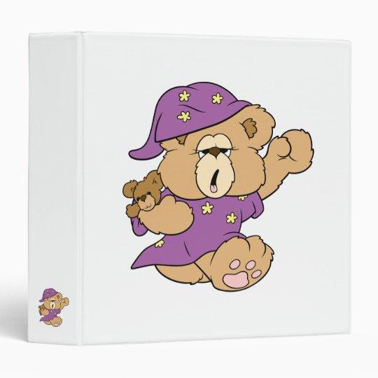 sleepy night night cute teddy bear design 3 ring binder