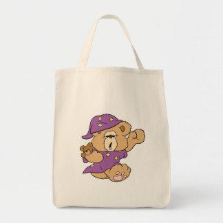 sleepy night night cute teddy bear design grocery tote bag