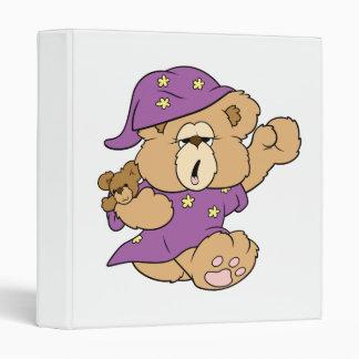 sleepy night night cute teddy bear design binder