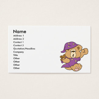 sleepy night night cute teddy bear design business card