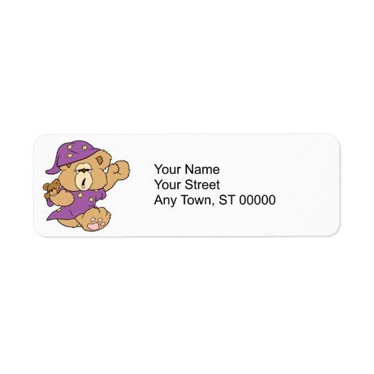 sleepy night night cute teddy bear design label