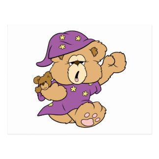 sleepy night night cute teddy bear design postcard