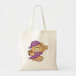 sleepy night night cute teddy bear design tote bag