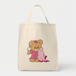 sleepy night night girl teddy bear design grocery tote bag