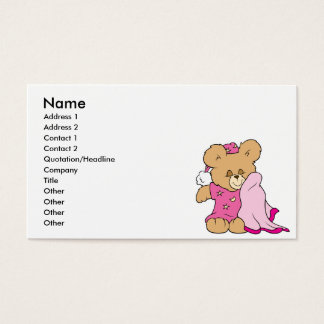 sleepy night night girl teddy bear design business card