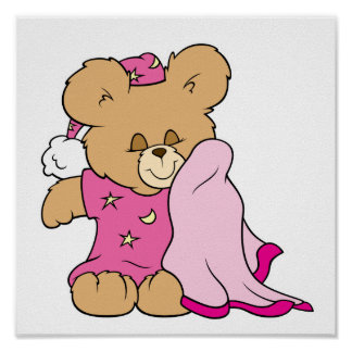 sleepy night night girl teddy bear design posters