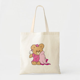 sleepy night night girl teddy bear design tote bag