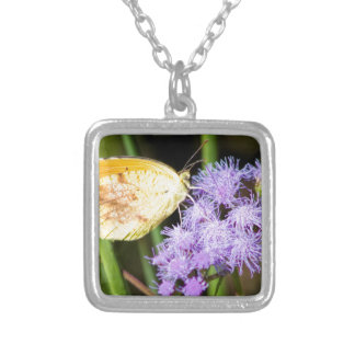 Sleepy Orange Butterfly on Ageratum Wildflowers Silver Plated Necklace