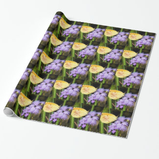 Sleepy Orange Butterfly on Ageratum Wildflowers Wrapping Paper