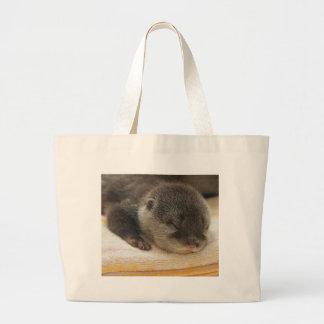 Sleepy Otter Large Tote Bag