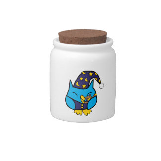 Sleepy Owl Candy Jar
