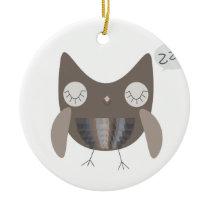 Sleepy Owl Ceramic Ornament