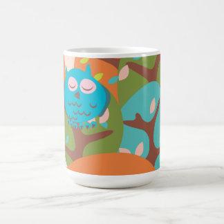 Sleepy Owl Classic White Coffee Mug
