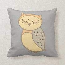 Sleepy Owl Decorative Throw Pillow