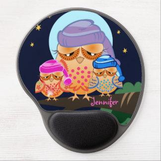 Sleepy Owl Family with Custom Name Gel Mouse Pad