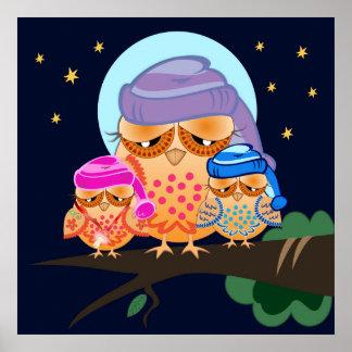 Sleepy Owl Family with Nightcaps Poster
