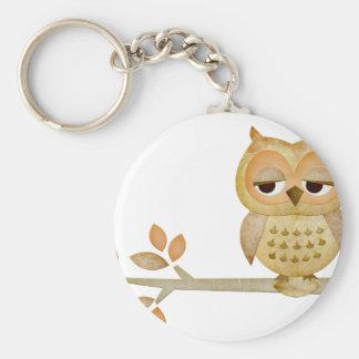 Sleepy Owl in Tree Basic Round Button Keychain