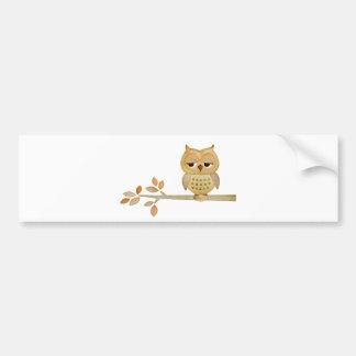 Sleepy Owl in Tree Bumper Sticker