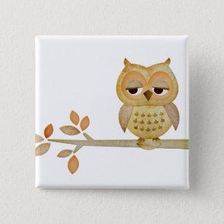Sleepy Owl in Tree Button