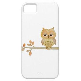 Sleepy Owl in Tree Case iPhone 5 Cases