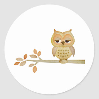 Sleepy Owl in Tree Classic Round Sticker