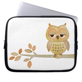 Sleepy Owl in Tree Electronics Bag Laptop Sleeves