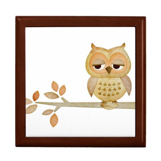 Sleepy Owl in Tree Gift Box