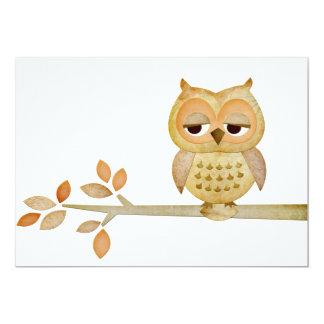 Sleepy Owl in Tree Invitation