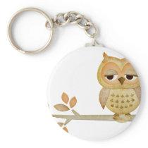Sleepy Owl in Tree Keychain