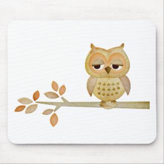 Sleepy Owl in Tree Mouse Pad