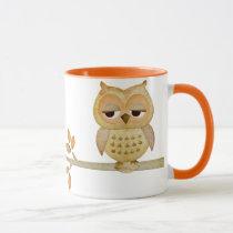 Sleepy Owl in Tree Mug