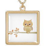 Sleepy Owl in Tree Necklace