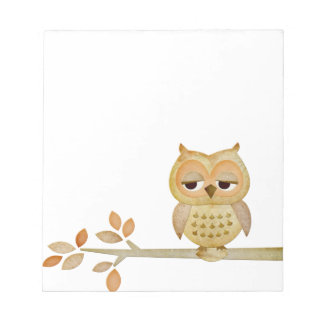 Sleepy Owl in Tree Notepad