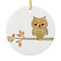 Sleepy Owl in Tree Ornament