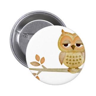 Sleepy Owl in Tree Pinback Button