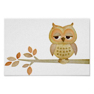 Sleepy Owl in Tree Poster