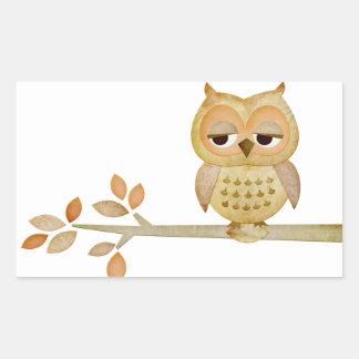 Sleepy Owl in Tree Sticker