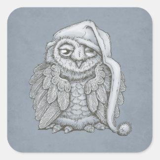 Sleepy Owl Square Sticker