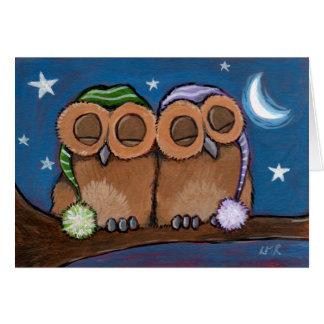 Sleepy Owls Greeting Card