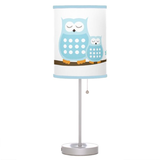 Sleepy Owls Nursery Lamp (Light Blue)